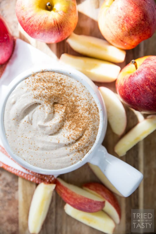 Healthy Caramel Apple Fruit Dip // Made with only five ingredients you will want to save this recipe to have for Halloween AND Thanksgiving! It's so divine you won't even know there's not a stitch of refined sugar! | Tried and Tasty