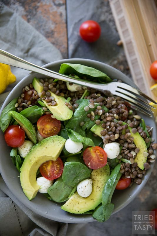 Lentil Spinach Salad // This delicious salad is not only quick and easy, it's packed with healthy nutrient rich ingredients - starring sprouted lentils. Great as a side dish and even filling enough to be the main meal! | Tried and Tasty