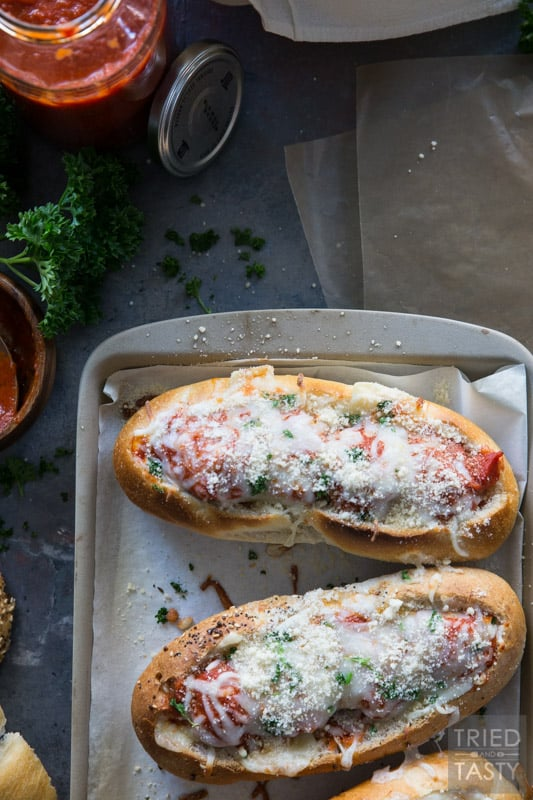 Three Cheese Italian Meatball Subs // Meatball subs taken to the next level with THREE different kinds of cheese. The cheese lover inside will shout for joy at first bit of these tasty sub sandwiches! | Tried and Tasty