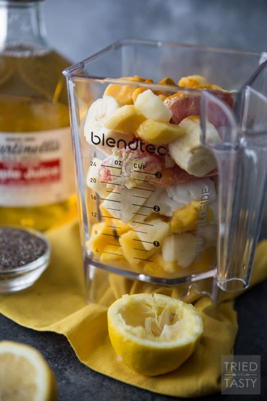 Winter Blues Blaster Detox Smoothie // Move over green smoothie, this will be the newest craze of the year. Filled with bright fruits, Martinelli's Apple Juice, and a few secret weapons. You'll want to add this smoothie to your rotation - it's sure to help you fight the blues! | Tried and Tasty