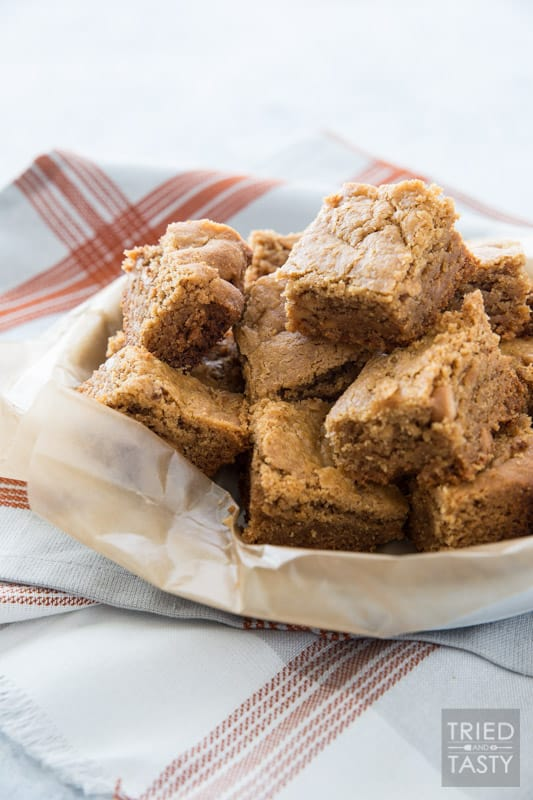 Slow Cooker Peanut Butter Cookie Bars // Your slow cooker isn't just for savory meals - it can also be used for dessert! These bars are perfectly peanut-buttery and perfectly delicious. One of those 'set it and forget it' favorites. | Tried and Tasty