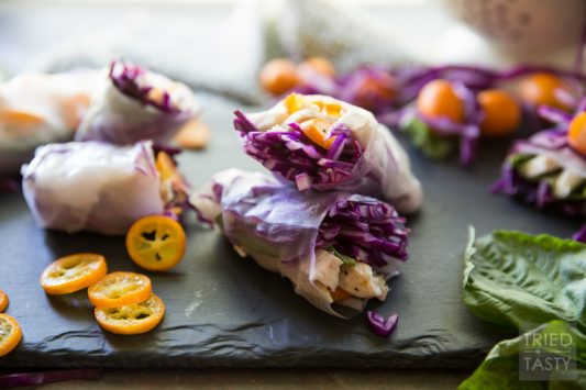 Summer Cabbage Spring Rolls // If you're looking for a refreshing, five ingredient, quick & easy appetizer (that could even double as a light lunch) - these spring rolls are exactly what you need! With flavors as vibrant as the colors, you can snack easy knowing you've got a tasty AND healthy option for any day of the week! | Tried and Tasty